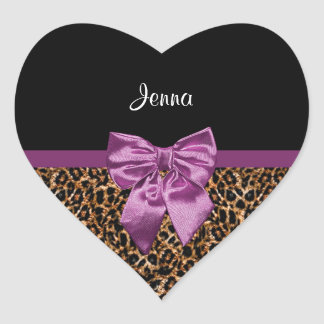 Stylish Leopard Print Elegant Purple Bow and Name Heart Sticker