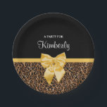 "Stylish Leopard Print Elegant Yellow Bow and Name Paper Plate<br><div class=""desc"">Stay in fashion with these stylish brown fur leopard print paper plates with an elegant yellow ribbon tied into a chic bow. Personalize this modern and classy animal print design by adding the name of the party girl. Flat printed image,  NOT actual fur or ribbon.</div>"