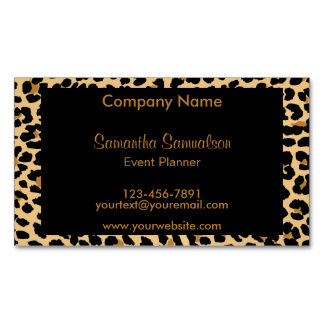 Stylish Leopard Print Magnetic Business Cards