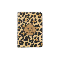 Stylish Leopard Print Monogram Passport Holder