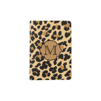 Stylish Leopard Print Monogram Passport Holder