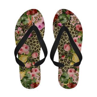 Stylish leopard print & vintage floral pink roses sandals