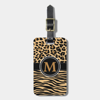 Stylish Leopard Zebra Print Monogram Luggage Tag