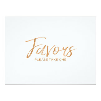 "Stylish Lettered Gold Rose Custom ""Favors"" Sign Card"