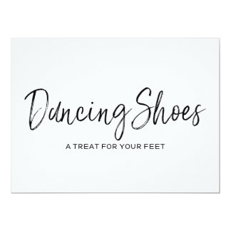 "Stylish Lettered Wedding ""Dancing Shoes"" Sign Card"