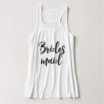 Stylish Lettering Brush Typography   Bridesmaid Tank Top