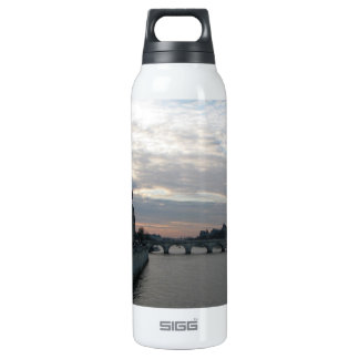Stylish Liberty Bottle with sunset in Paris