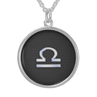 Stylish Libra Zodiac Sign Black Snake Skin Decor Sterling Silver Necklace