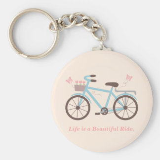 Stylish Life is a Beautiful Ride Bicycle Quote Basic Round Button Keychain