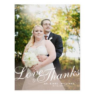 Stylish Light Modern Script Love Thanks Postcard