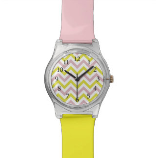 Stylish Light Pink and Lime Cheveron Pattern Watch