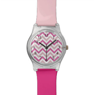Stylish Light Pink and Pink Cheveron Pattern Watch