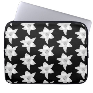 Stylish Lily Pattern in Black and White Laptop Computer Sleeve