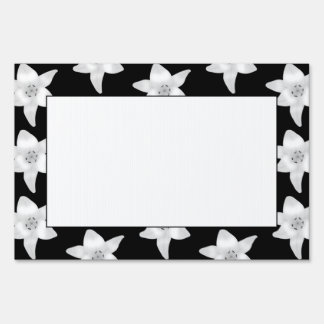 Stylish Lily Pattern in Black and White Signs