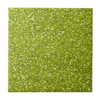 Stylish Lime Green Glitter Ceramic Tile