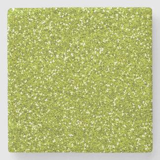 Stylish Lime Green Glitter Stone Coaster