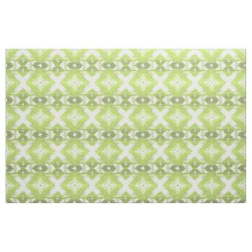 Aztec Themed Stylish Lime Olive Green White Ikat Tribal Pattern Fabric