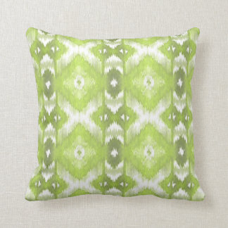 Stylish Lime Olive Green White Ikat Tribal Pattern Throw Pillow