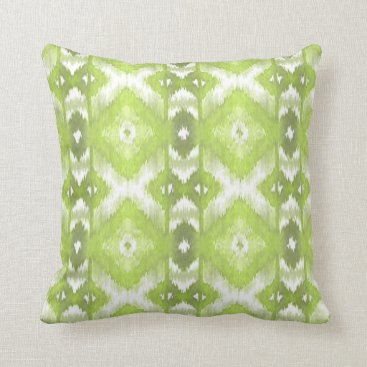 Aztec Themed Stylish Lime Olive Green White Ikat Tribal Pattern Throw Pillow