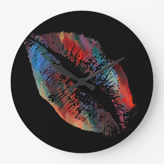 Stylish Lips #4 Large Clock