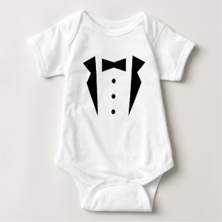 Stylish Little Gentleman Tuxedo With Black Bow Tie Baby Bodysuit