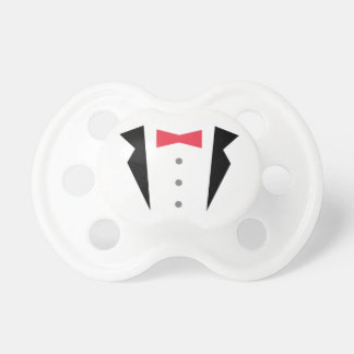 Stylish Little Gentleman Tuxedo With Red Bow Tie Pacifier