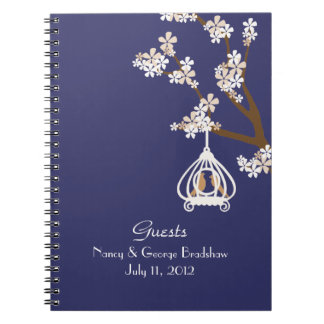 Stylish Love Birds Guest Sign In Notebook
