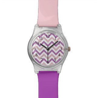 Stylish Lt Pink and Purple Chevron Pattern Watch