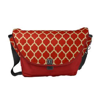 Stylish & Luxurious Red Quatrefoil lattice pattern Messenger Bag