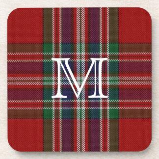 Stylish MacFarlane Plaid Monogram Coaster