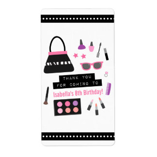 Stylish Makeup Fashion Show Birthday Party Labels