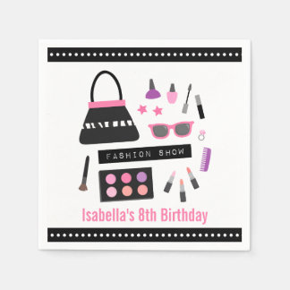 Stylish Makeup Fashion Show Birthday Party Napkins