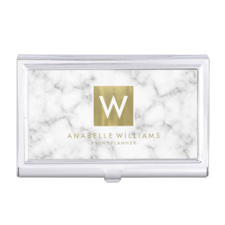 Stylish Marble and Gold Printed Texture Business Card Holder