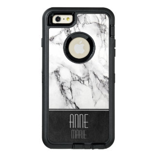 Stylish Marble and Leather OtterBox Defender iPhone Case