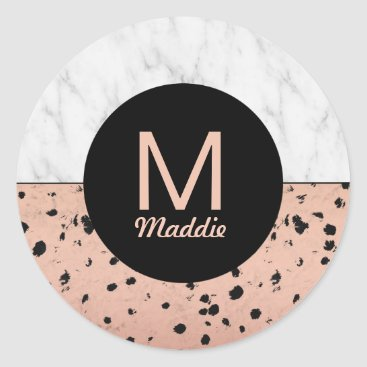 Professional Business Stylish Marble and Rose Gold Pattern with Monogram Classic Round Sticker