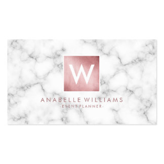 Stylish Marble and Rose Gold Printed Texture Business Card