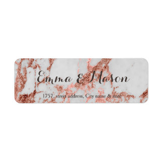 Stylish marble faux rose gold wedding collection label