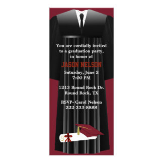 Stylish Maroon Graduation Party Invitation