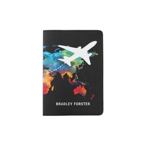 Stylish Masculine World Map Name Passport Holder