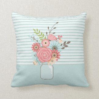 Stylish Mason Jar Floral Accent Throw Pillow