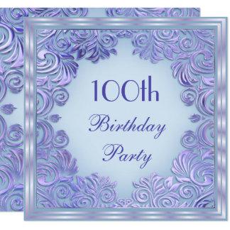 Stylish Mauve Foil Leaf Swirls 100th Birthday Card