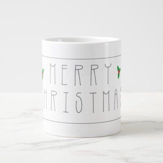 Stylish Merry Christmas Greeting in Grey Type Mug