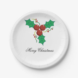 Stylish Merry Christmas Holly Berries Paper Plate