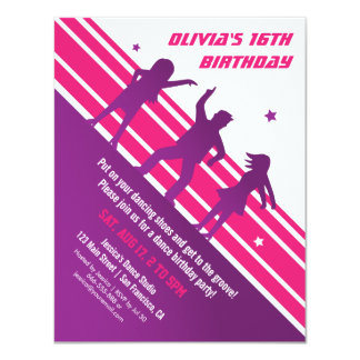 Stylish Minimalist Teen Disco Dance Birthday Party 4.25x5.5 Paper Invitation Card