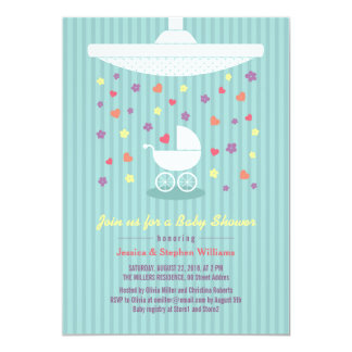 Stylish Mint Blue Baby Shower Colorful Invite