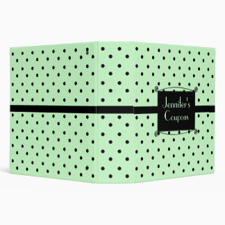 Stylish Mint Green & Black Polka Dot Custom Binder