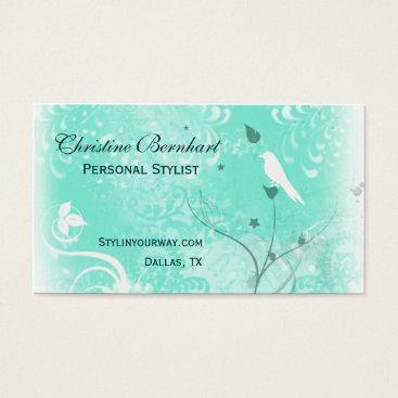 Professional Business Stylish Mint Green Flourish Business Card