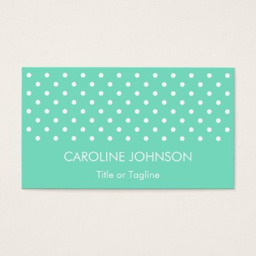 Professional Business Stylish Mint Green White Polka Dot Spot Pattern Business Card