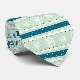 Stylish Mint Teal  White Christmas Snowflakes Tie
