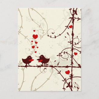 Stylish mod swirl vines birds save the date card postcard